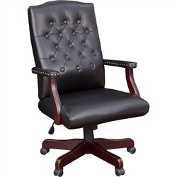 Regency Button Tufted Ivy League Vinyl Swivel Chair in Black