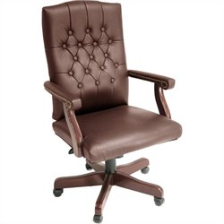 Regency Button Tufted Ivy League Vinyl Swivel Chair in Burgundy