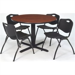 Regency Round Lunchroom Table and 4 Black M Stack Chairs in Cherry