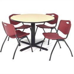Regency Round Lunchroom Table and 4 Burgundy M Stack Chairs in Beige