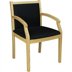 Regency Regent Wood and Fabric Side Guest Chair in Natural Wood and Black
