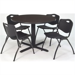 Regency Round Lunch Table and 4 Black M Stack Chairs in Mocha Walnut