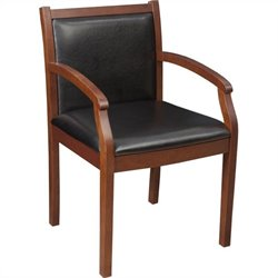 Regency Vinyl Regent Vinyl Side Guest Chair in Cherry Wood and Black