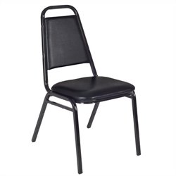 Regency Padded Restaurant Stacker Stacking Chair in Black (Set of 4)