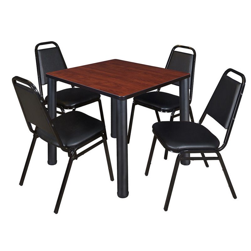4 Stack Chairs and Square Table in Cherry
