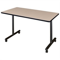 Regency Mobile Rectangular Training Table with Kobe Base in Beige - 42 inch