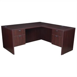 Regency Legacy Desk with Pedestals and Return in Mahogany - 60 inch