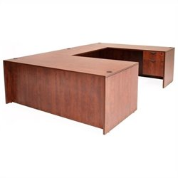 Regency Legacy U-Desk with Box File Pedestals and Bridge in Cherry - 66 inch