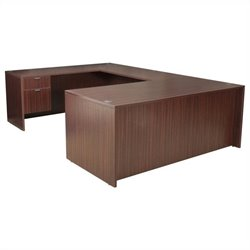 Regency Legacy U-Desk with Box File Pedestals and Bridge in Mahogany - 66 inch
