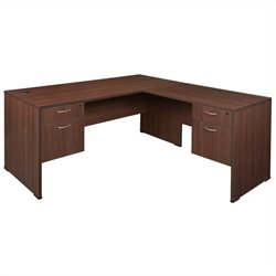 Regency Sandia L-Desk with Pedestals in Java - 60 inch