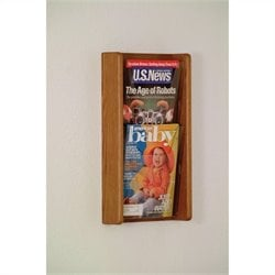 Wooden Mallet 2 Pocket Acrylic and Oak Wall Display in Medium Oak