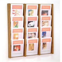 Wooden Mallet 12 Pocket Acrylic and Oak Wall Display in Medium Oak