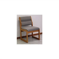Dakota Wave Valley Armless Guest Chair in Medium Oak