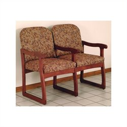 Dakota Wave Prairie  Double Sled Base Chair inDark Red Mahogany