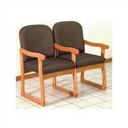 Dakota Wave Prairie Double Sled Base Chair in Medium Oak