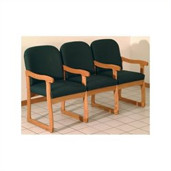 Dakota Wave Prairie Triple Sled Base Chair in Medium Oak