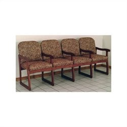 Dakota Wave Prairie Quadruple Sled Base Chair in Mahogany - Arch Blue Designer