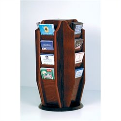 Wooden Mallet Countertop 16 Brochure Rotating Display in Mahogany