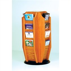 Wooden Mallet Countertop 16 Brochure Rotating Display in Medium Oak