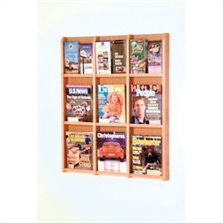 Wooden Mallet 9 Magazine and 18 Brochure Oak and Acrylic Wall Display in Light Oak