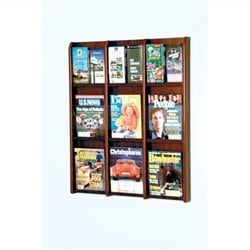 Wooden Mallet 9 Magazine and 18 Brochure Oak and Acrylic Wall Display in Mahogany