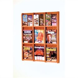 Wooden Mallet 9 Magazine and 18 Brochure Oak and Acrylic Wall Display in Medium Oak
