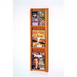 Wooden Mallet 3 Magazine and 6 Brochure Wall Display in Medium Oak