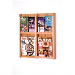 Wooden Mallet 4 Magazine and 8 Brochure Wall Display in Light Oak