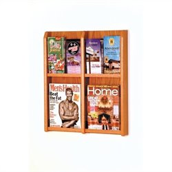 Wooden Mallet 4 Magazine and 8 Brochure Wall Display in Medium Oak