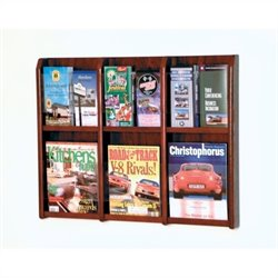 Wooden Mallet Magazine and Brochure Wall Display in Mahogany