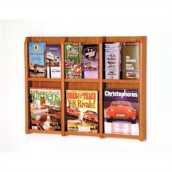 Wooden Mallet Magazine and Brochure Wall Display in Medium Oak