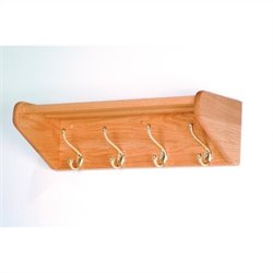 Wooden Mallet Hat and Coat Rack with 4 Brass Hooks in Light Oak