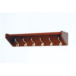 Wooden Mallet Hat and Coat Rack with 6 Brass Hooks in Mahogany