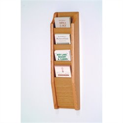 Wooden Mallet Brochure Display with 4 Pockets in Light Oak