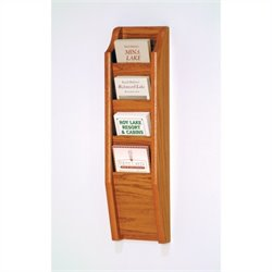 Wooden Mallet Brochure Display with 4 Pockets in Medium Oak