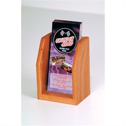 Wooden Mallet 1 Pocket Brochure Display in Medium Oak