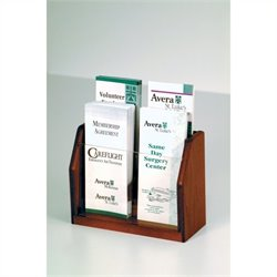 Wooden Mallet 4 Pocket Brochure Display in Mahogany