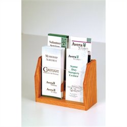 Wooden Mallet 4 Pocket Brochure Display in Medium Oak