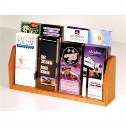 Wooden Mallet 8 Pocket Brochure Display in Medium Oak