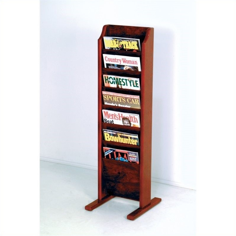 Wooden Mallet Free Standing 7 Pocket Magazine Rack in Mahogany