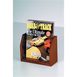 Oak Countertop 1 Pocket Magazine Display in Mahogany