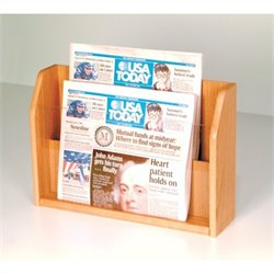 Wooden Mallet Newspaper Display with 2 Pockets in Light Oak