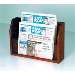 Wooden Mallet Newspaper Display with 2 Pockets in Mahogany