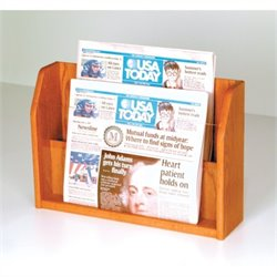 Wooden Mallet Newspaper Display with 2 Pockets in Medium Oak