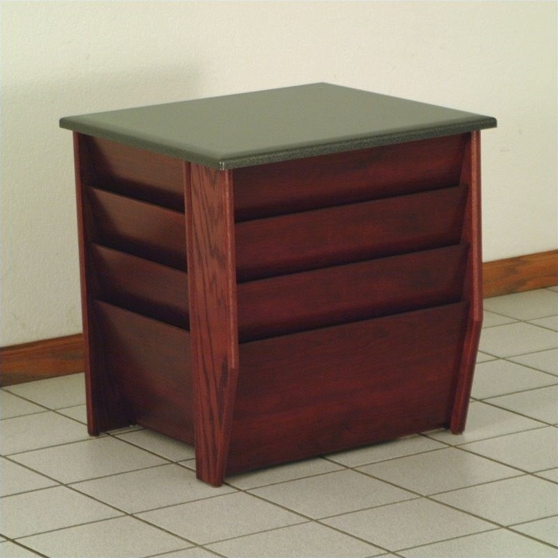 Dakota Wave End Table with Magazine Pockets in Mahogany