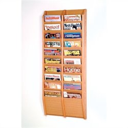 Wooden Mallet 20 Pocket Wall Mount Magazine Rack in Light Oak