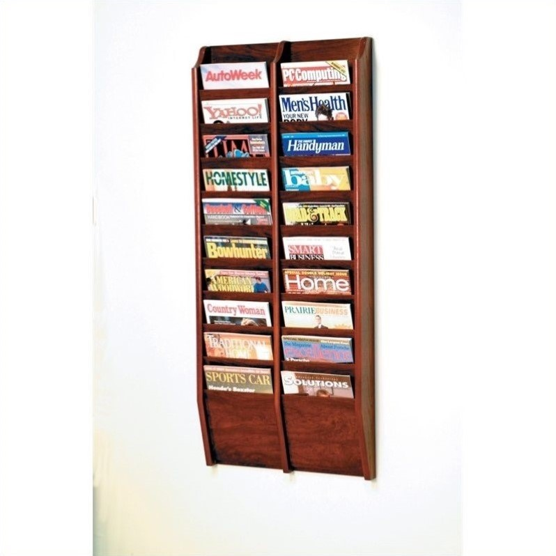 20 Pocket Wall Mount Magazine Rack in Mahogany