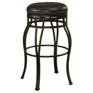 American Heritage Coyle Faux Leather Swivel Bar Stool in Cordovan