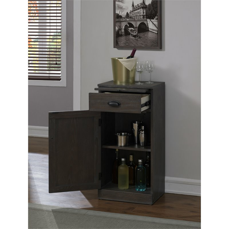 American Heritage Billiards Valencia Wood Modular Wine Left Cabinet in Glacier