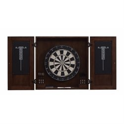 American Heritage Billiards Turin Dart Board Cabinet Set in Rich Brown